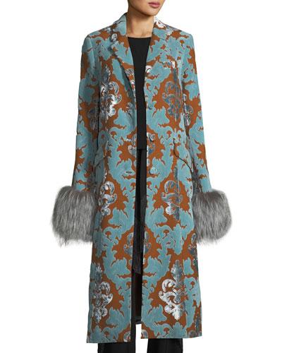 Ember Velvet Damask Long Coat w/ Fur Cuffs