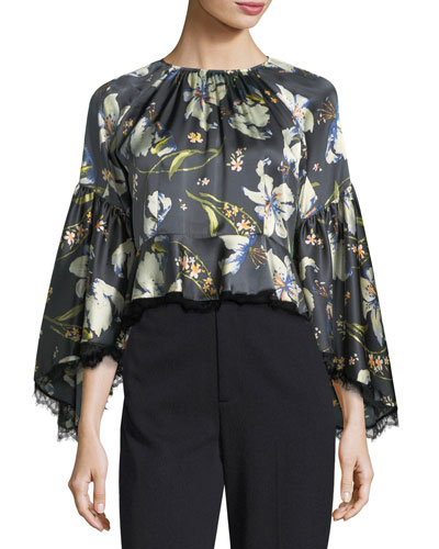 Avalon Long-Sleeve Floral-Print Satin Blouse w/ Lace Trim