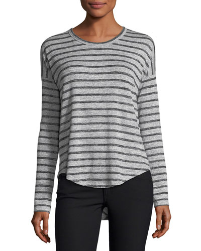 Hudson Crewneck Long-Sleeve Striped Top