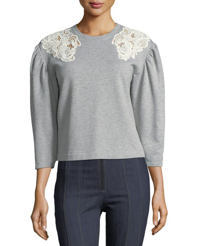 Crewneck Pouf-Sleeve Cotton Sweatshirt w/ Lace