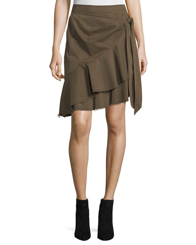 Anson Asymmetric Cotton Wrap Skirt