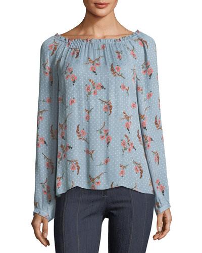 Natalie Off-the-Shoulder Long-Sleeve Floral-Print Top