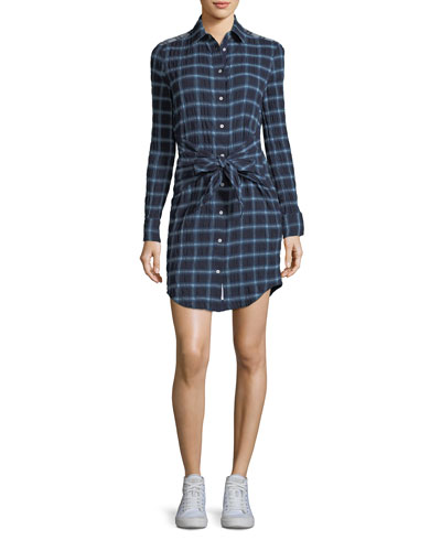 Sadie Plaid Tie-Waist Shirtdress