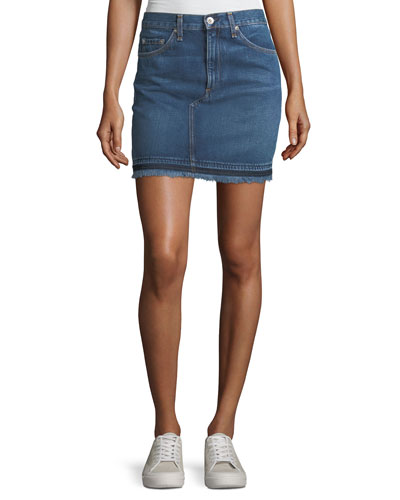 Dive Pencil Denim Mini Skirt w/ Fringed Hem