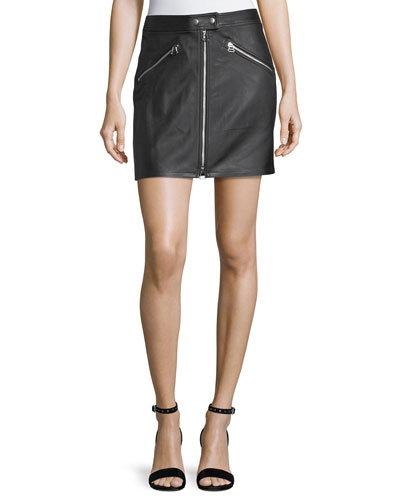 Racer Slim-Fit Zipper Leather Skirt