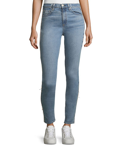 High-Rise Light-Wash Skinny-Leg Jeans