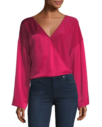 Wide-Sleeve Crossover Silk Satin Blouse