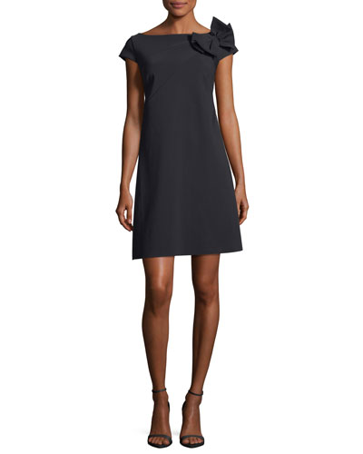 Makiko Cap-Sleeve Bow Cocktail Dress