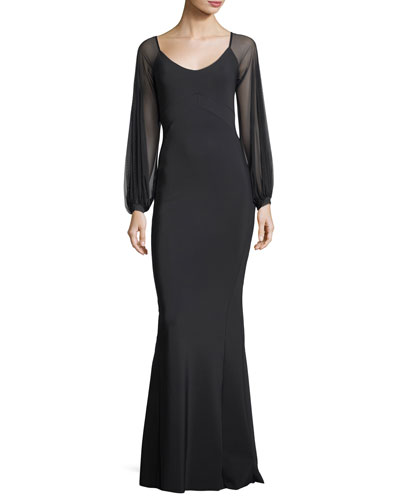 Marlo Scoop-Neck Illusion Evening Gown