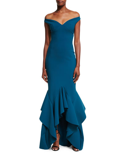 Adeniece Off-the-Shoulder Ruffled High-Low Mermaid Gown