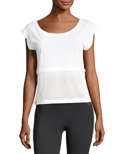 Airstream Scoop-Neck Mesh Hem Top