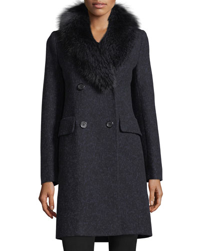 Double-Breasted Long-Sleeve Wool Coat w/ Fox Fur