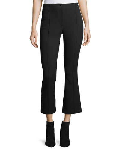 Cropped Mid-Rise Flared Wool Pants