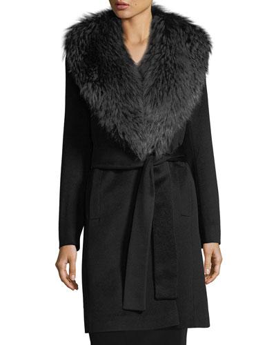 Wrap Coat with Fox Collar