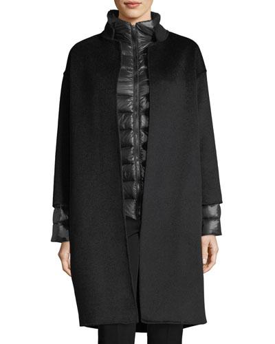 Cashmere Nehru-Collar Wool Coat w/ Detachable Lightweight Puffer Jacket