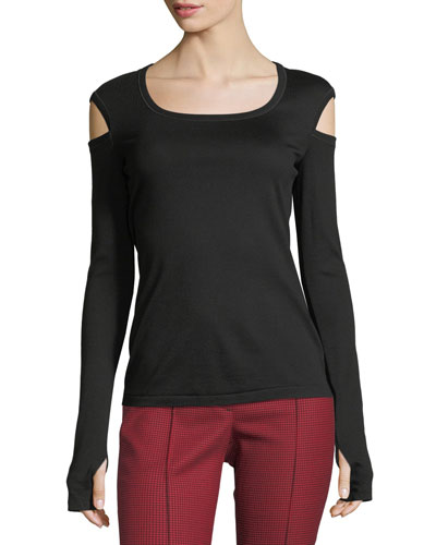 Round-Neck Slash Long-Sleeve Cotton Tee