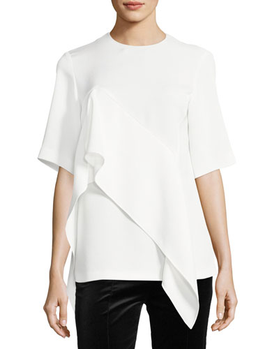 Short-Sleeve Ruffle-Front Blouse