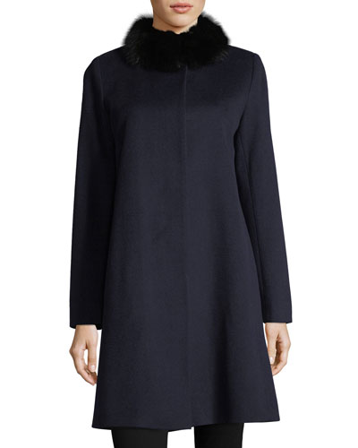 Button-Front Fur-Trimmed Collar Wool Coat