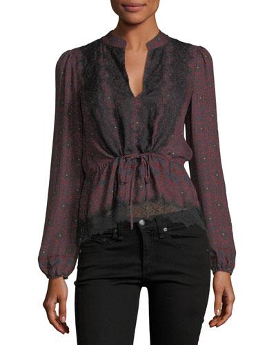 Lindberg Blouson-Sleeve Printed Silk Blouse w/ Lace