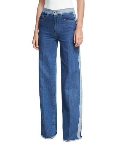 Stone-Washed Wide-Leg Denim Jeans w/ Racing Stripe