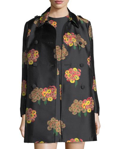 Bouquet-Pattern Brocade Topper Jacket