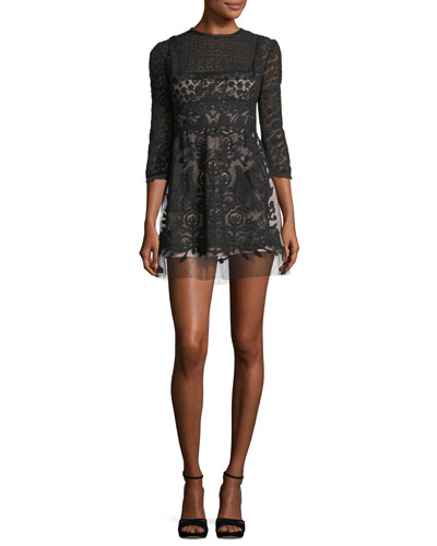 3/4-Sleeve Point d'Esprit Macramé Minidress