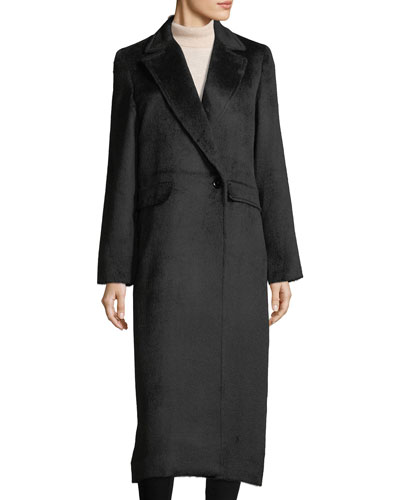 Notched-Lapel Wrap Alpaca Duster Coat