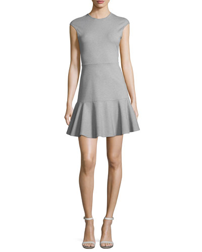 Essential Flare Cap-Sleeve Ponte Mini Dress