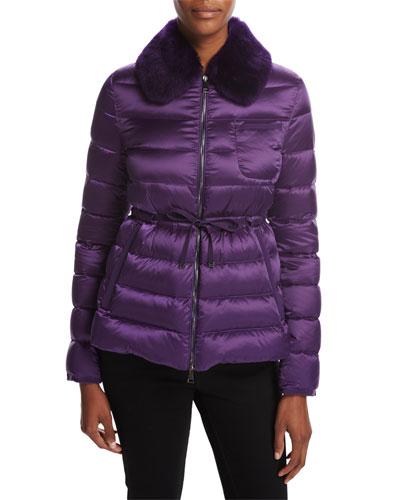 Abelia Quilted Fur-Collar Coat