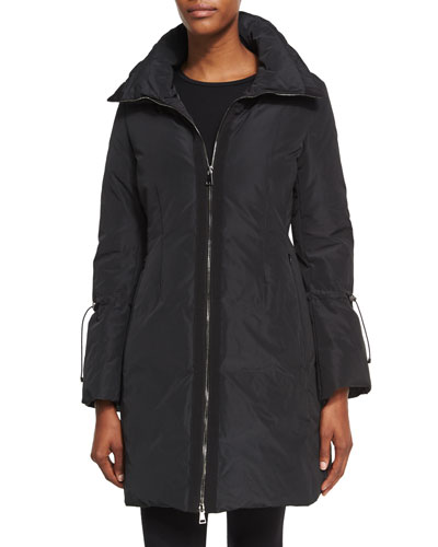 Alnus Zip-Front Mid-Length Coat