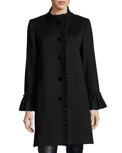 Button-Front Ruffled-Neck Wool Coat 48d47f0a5