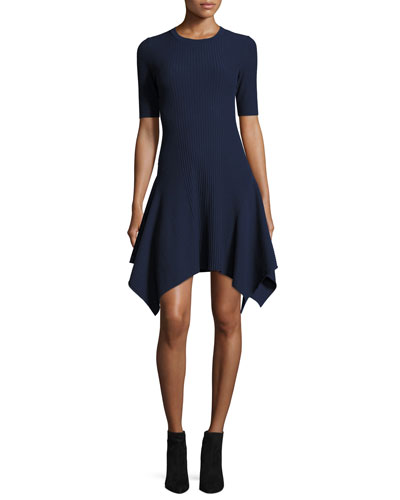Delta Short-Sleeve Rib-Knit Dress W/ Handkerchief Hem