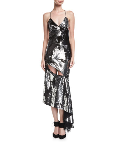 Fractured Sequin Sleeveless Bias-Cut Cocktail Slip Dress
