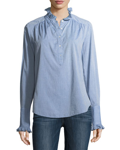 Reka Partial-Button Long-Sleeve Denim Shirt