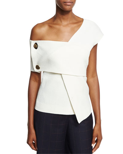 Willow One-Shoulder Bonded Crepe Top w/ Trim