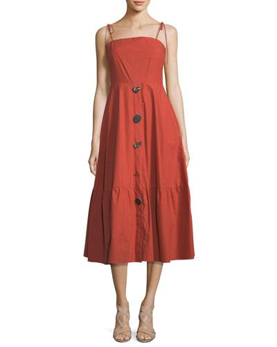 Maria Square-Neck Sleeveless Button-Front Poplin Dress