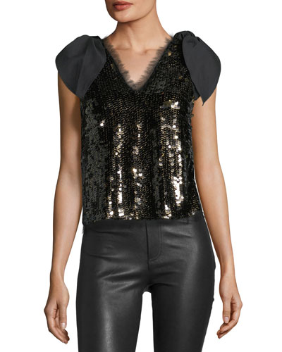 Riona V-Neck Sequin Blouse