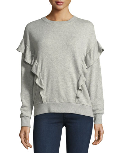 Ayana Crewneck Long-Sleeve Sweater w/ Ruffled Frills
