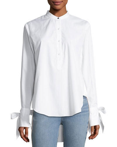 Dylan Long-Sleeve High-Low Poplin Shirt