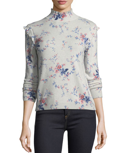 Robbia Floral-Print Long-Sleeve Wool-Cashmere Sweater