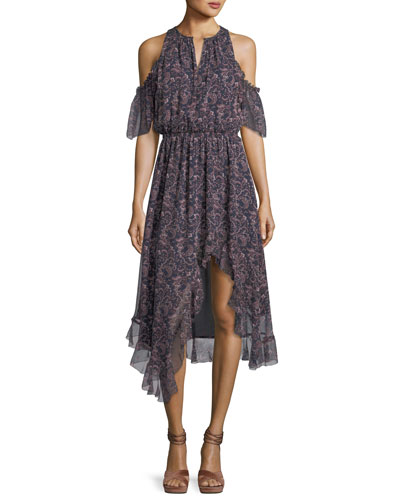 Agnek Split-Neck Cold-Shoulder Printed Silk Dress