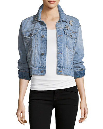 Redmondia Cropped Denim Jacket w/ Jeweled Pins