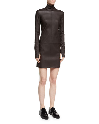 Turtleneck Long-Sleeve Paneled Leather Dress