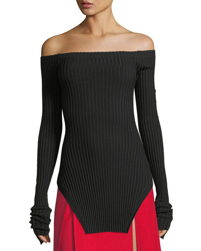Off-the-Shoulder Silk Rib-Knit Pullover Sweater