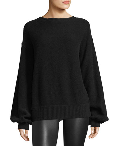 Air-Spun Wool-Cashmere Blouson-Sleeve Pullover Sweater