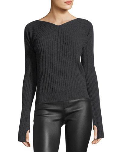 Double-Rib V-Neck Thumbhole Sweater