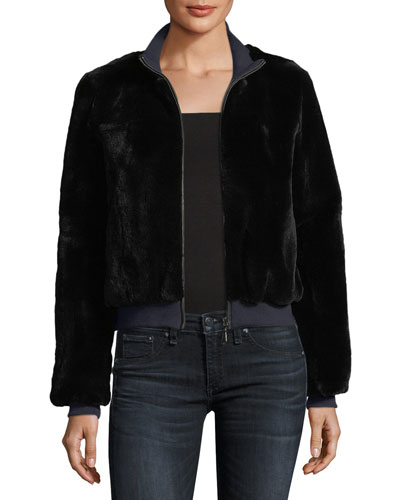 Zip-Front Rabbit Fur Jacket
