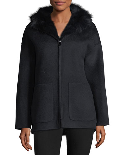 Reversible Wool-Blend & Fur Jacket