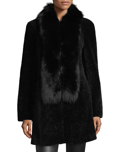Shearling Coat w/Fox Fur Trim