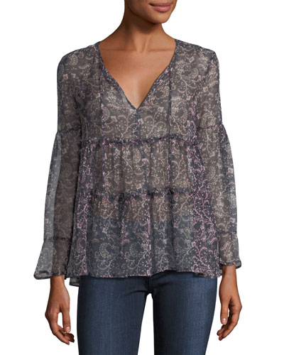 Shawnita Split-Neck Printed Sheer Top